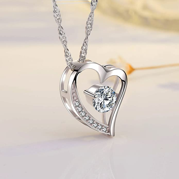 9a9cd6e8d Amazon.com: sephla 14k White Gold Plated Forever Lover Heart Pendant  Necklace: Jewelry
