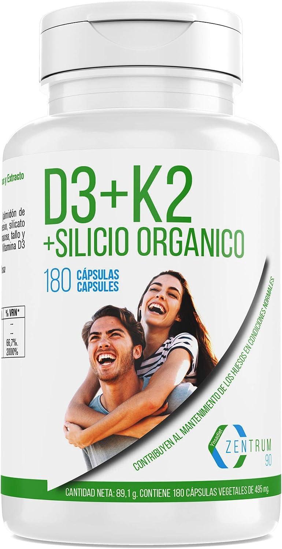Vitamina D3, vitamina K2 y silicio orgánico para el mantenimiento de unos huesos fuertes – Vit D3 y Vit K2 para la correcta absorción y distribución del calcio en nuestro organismo – 180 cápsulas