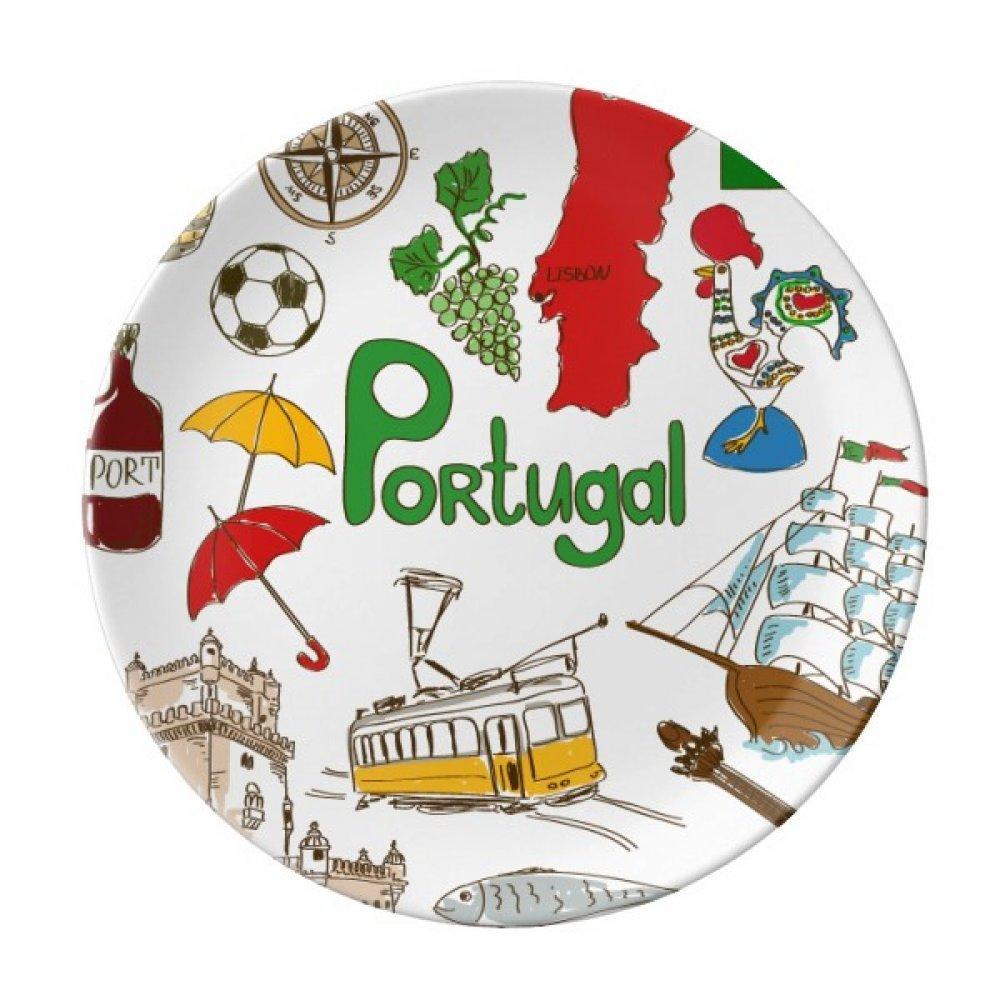 Portugal Landscap Animals National Flag Dessert Plate Decorative Porcelain 8 inch Dinner Home
