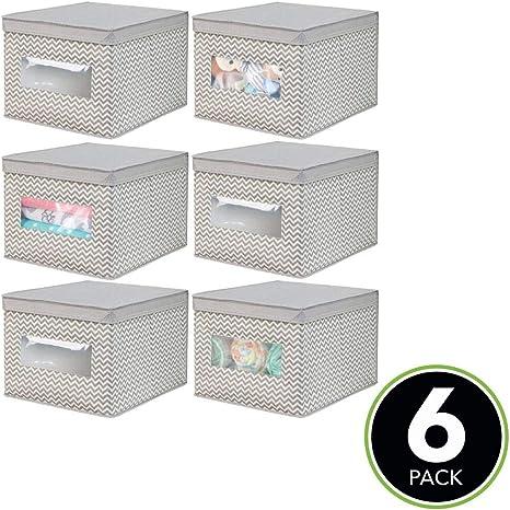 Caja organizadora ideal como organizador de armarios mDesign Juego de 6 cajas de tela para cambiador gris topo//crudo Caja para guardar ropa o cosas de beb/é Cajas con tapa de fibra sint/ética