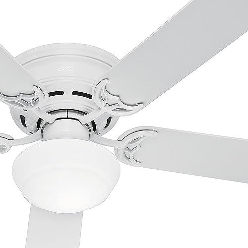 Hunter Fan 52in White Finish Low Profile Ceiling Fan Cased White Glass Light Kit Renewed White