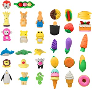 Lanboon 32 Pack Animal Pencil Erasers and Food Erasers, Pencil Erasers Assorted Animal Cake Fruit Vegetable Dessert Erasers Toys for Party Favors, School Classroom Rewards, Puzzle Toys