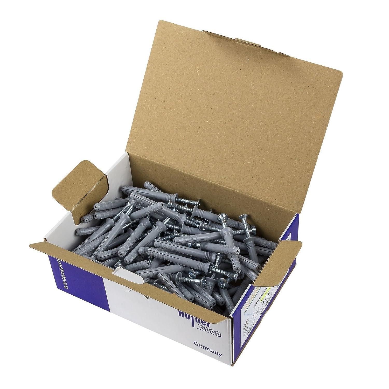 Senkkopf-Schlagd/übel 8x100 mm 100x H/üfner Nageld/übel FIX aus reinem Nylon mit verzinktem Schraubnagel die perfekte Schnellmontage mit hohen Auszugswerten in Vollbaustoffen 8x100mm