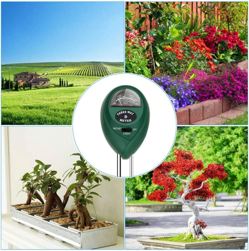 Farm Lawn No Battery Needed 3-in-1 Soil Tester for Garden Lawn Soil Test Kit Digital Soil Tester Soil Thermometer and Moisture Meter Soil Tester Kits with Moisture,Light and PH Test for Garden