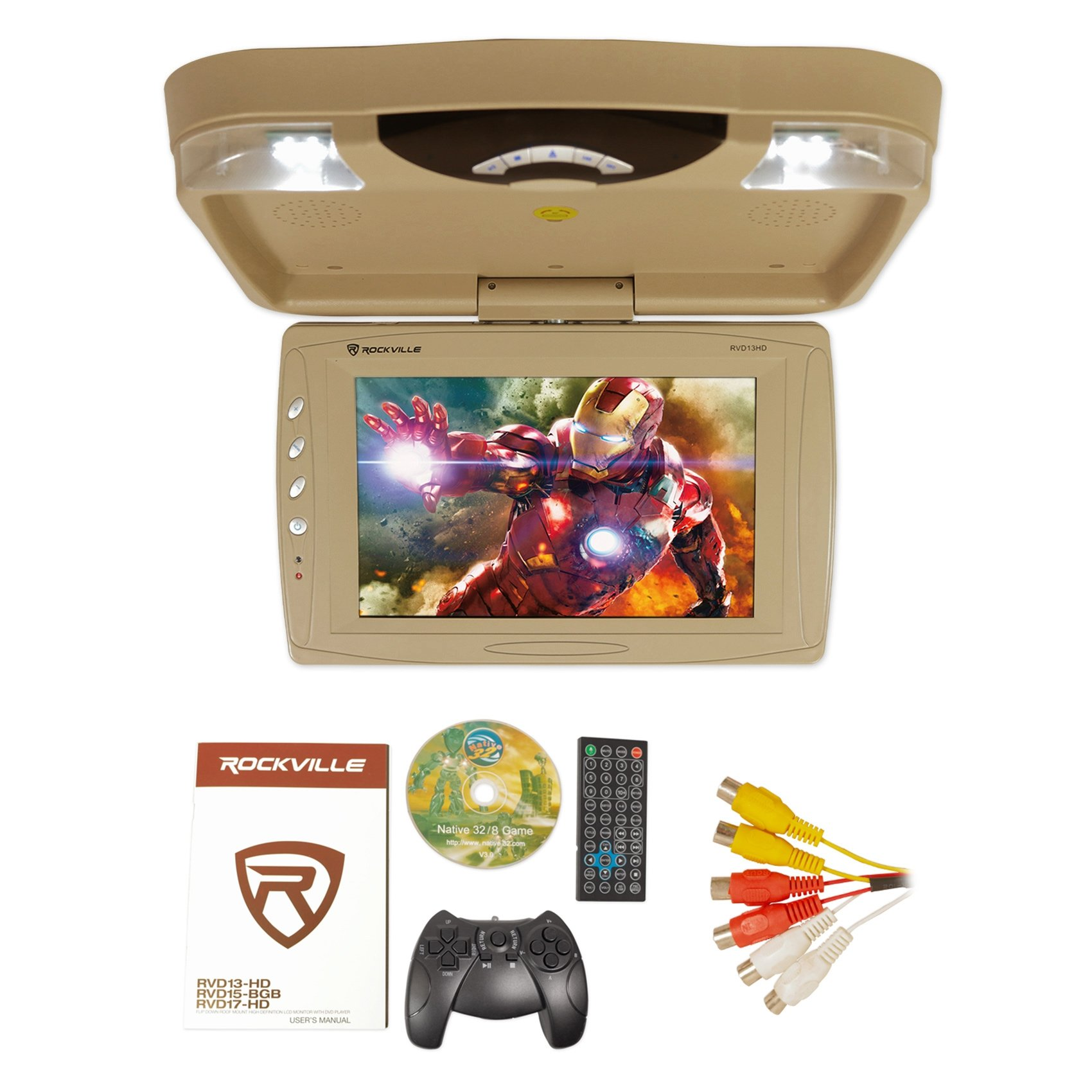 Rockville RVD13HD-BG BEIGE 13'' Flip Down Car Monitor w DVD/HDMI/USB/SD/Games Tan
