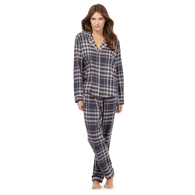 J By Jasper Conran Womens Tall Dark Grey And Pink Checked Print Pyjama Set