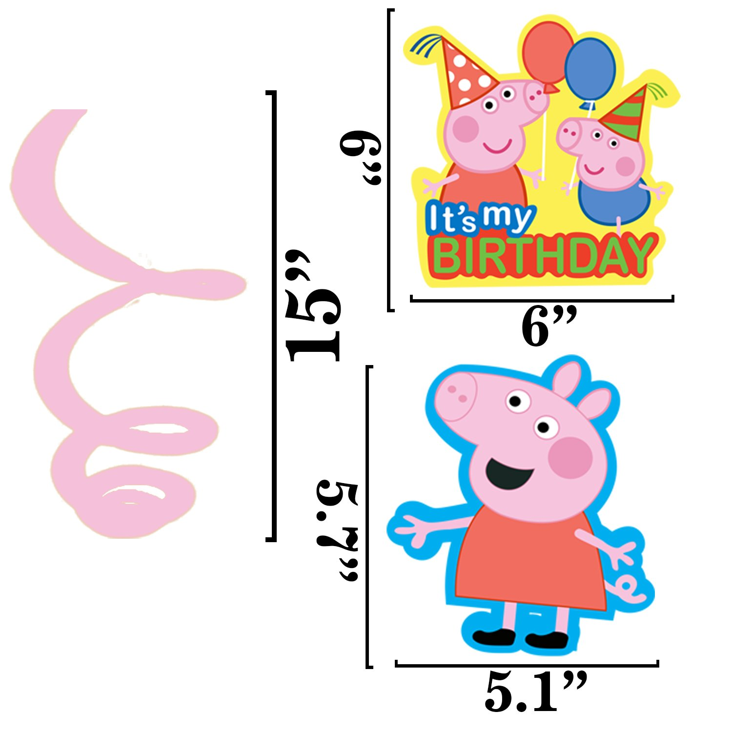 Peppa Pig Happy Birthday Hanging Banner Swirl Bunting Party Decoration Partyware
