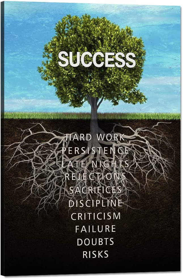 "Yatsen Bridge Success Tree Inspirational Posters Motivational Canvas Wall Art Inspiring Entrepreneur Quotes Painting Modern Pop Posters Prints Artwork for Office Gym Classroom Framed (24""Wx36""H)"