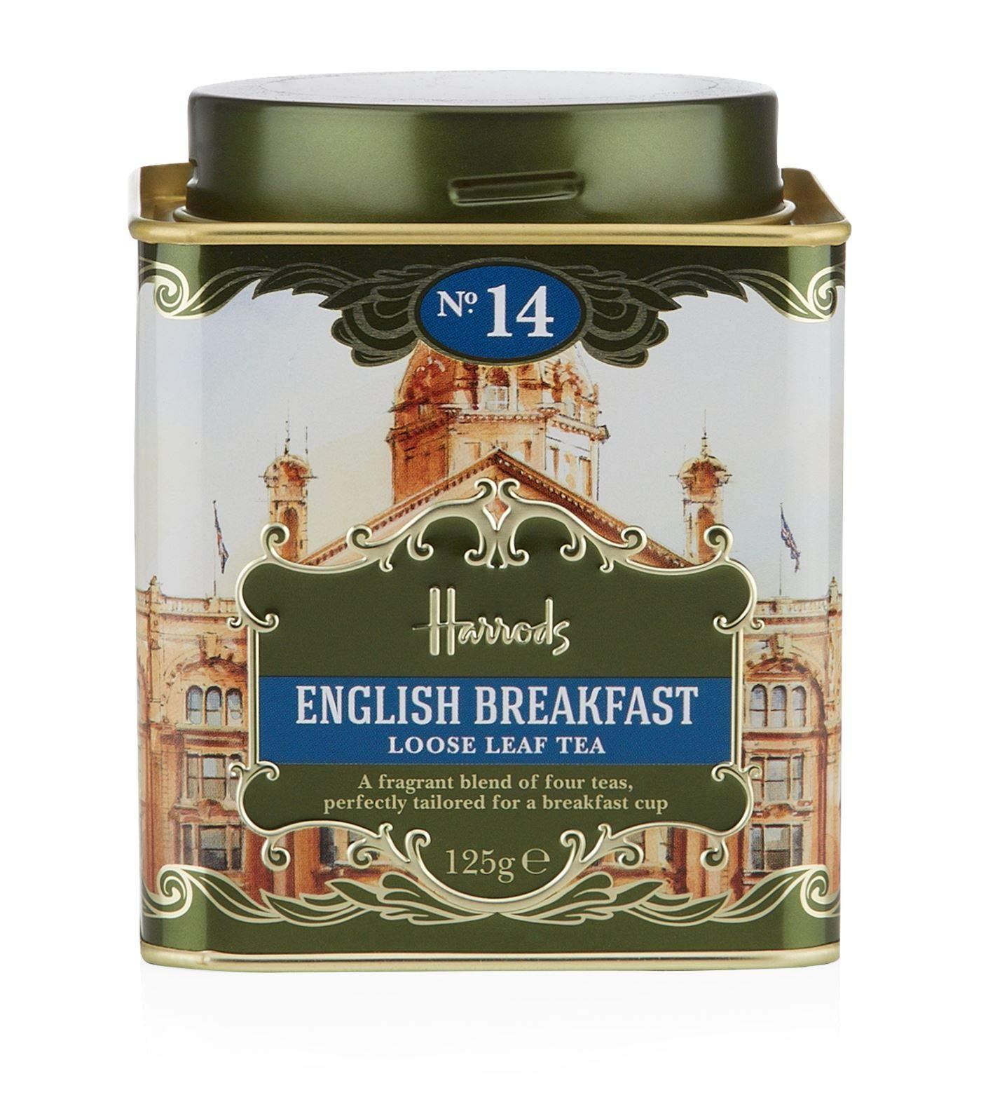 Harrods London. No. 14, English Breakfast 125g Loose Tea 4.4oz GIFT TIN CADDY - USA Stock