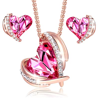955af421f55c7 AZORA Pink Angel 18K Rose Gold Plated Pendant Necklace Earrings Women  Swarovski Necklace Heart Jewelry Sets Fashion Gift for Wife Mum Love Her