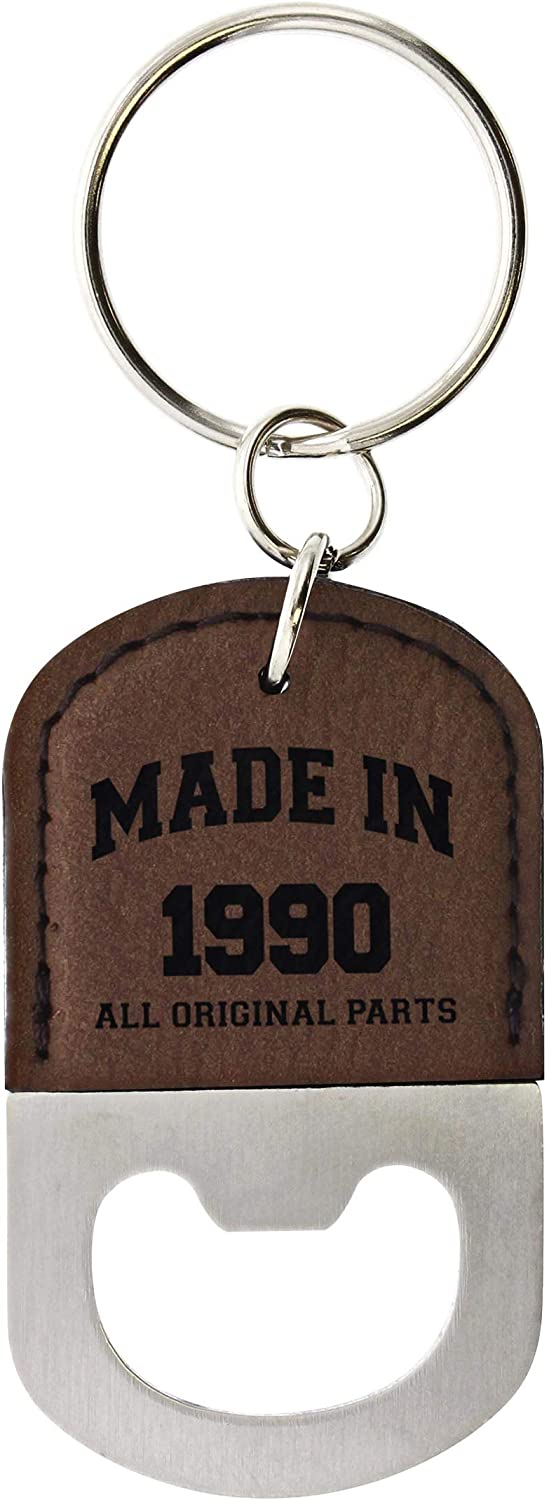 30th Birthday Gifts for Women Made 1990 30th Birthday Party Gifts Leatherette Bottle Opener Keychain Key Tag Brown