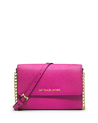 dbdc615949b10 Michael Kors Jet Set Travel Saffiano Leather Smartphone Crossbody in  Raspberry