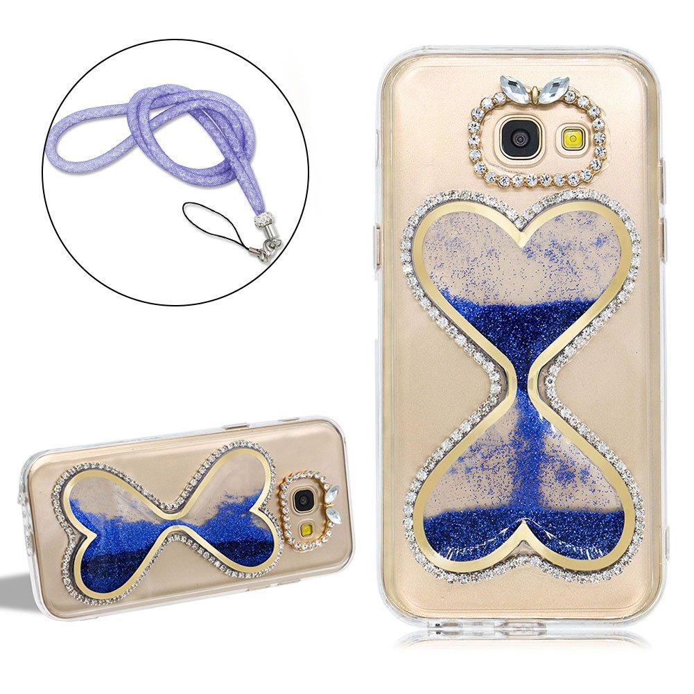 Girlyard For Samsung Galaxy S6 3D Liquid Sand Clock Hourglass Timer Crystal Phone Case Cover Shiny Diamond Love Hearts Shaped Flowing Sand Transparent Protective Skin Case Cover, Blue
