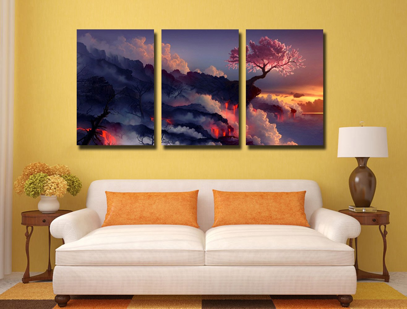 Amazon.com: Gardenia Art Magic Cherry Tree in Volcanoes Canvas ...