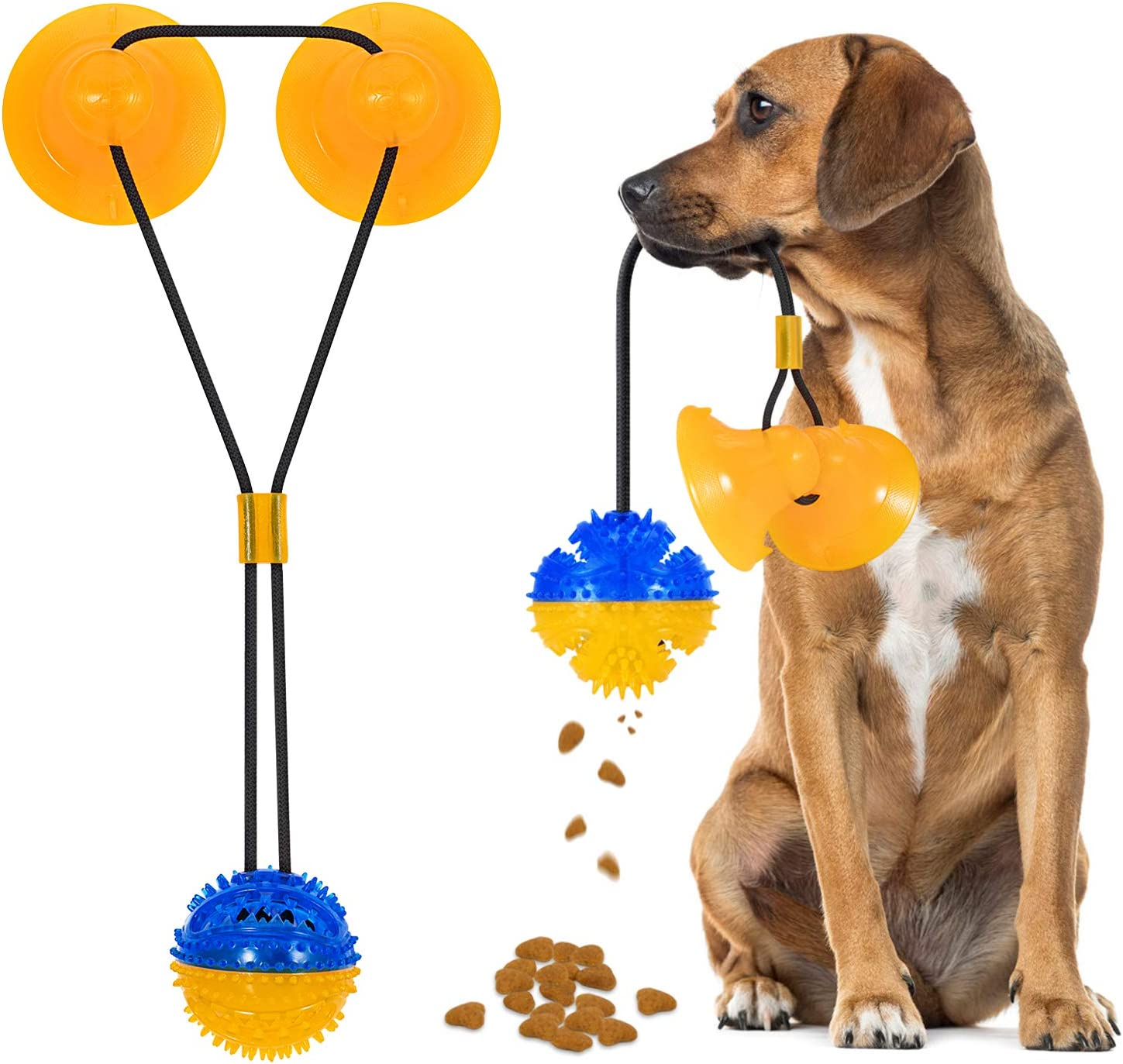 Suction Cup Dog Toys 2020 Upgraded Pet Molar Bite Toy with 2 Suction Cups, Puppy Rope Toys for Playing Tug of War, Interactive Dog Chew Toys for