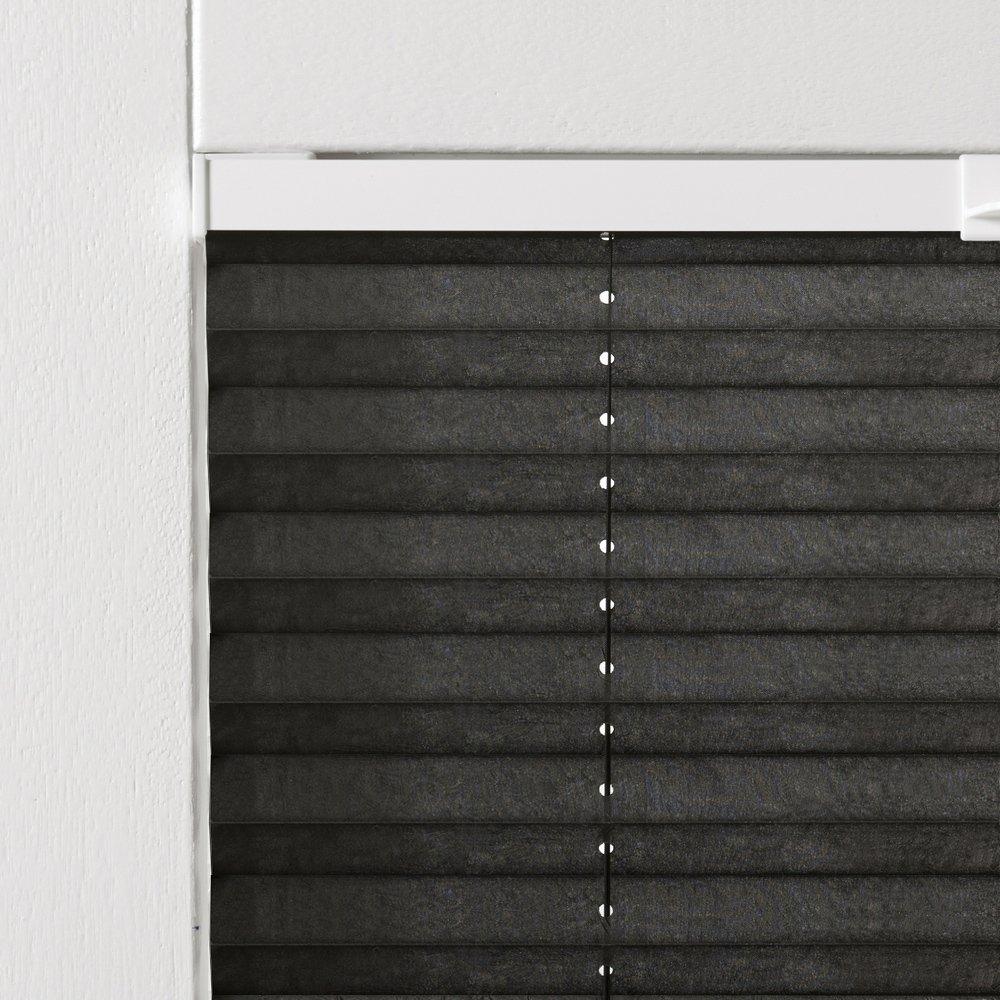69x220 cm Breite 69 cm x Höhe 220 cm Montage im Rahmen in der Glasleiste Original Easy-Shadow Plissee verspannt Faltstore in der Farbe schwarz Maßanfertigung