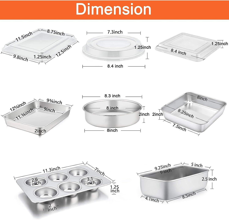 Dishwasher Safe /& Smooth Healthy /& Durable Loaf Pan /& Muffin Pan TeamFar Stainless Steel Bakeware Set of 8 Baking Roasting Pan Set with Lid Square /& Round Cake Pan Lasagna Pan with lid
