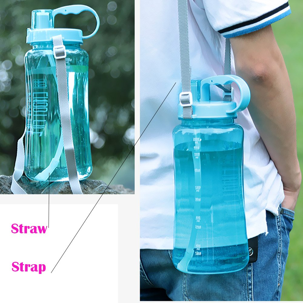 Portable Wide Mouth Big Plastic Bottle Leakproof Space Cup BPA Free Travel Mugs with Scale,Straw,Strap for Kids Adult Summer Outdoor Sports Lonni 2L Sports Water Bottles