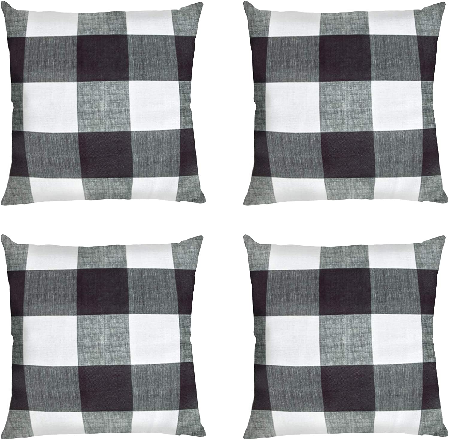 Ouddy Farmhouse Buffalo Check Plaid Throw Pillow Covers 20 x 20 Set of 4, Decorative Square Plaid Pillow Covers Case Cotton Linen Cushion for Fall Chritsmas Outdoor Home Proch Decor Sofa Bedroom Car