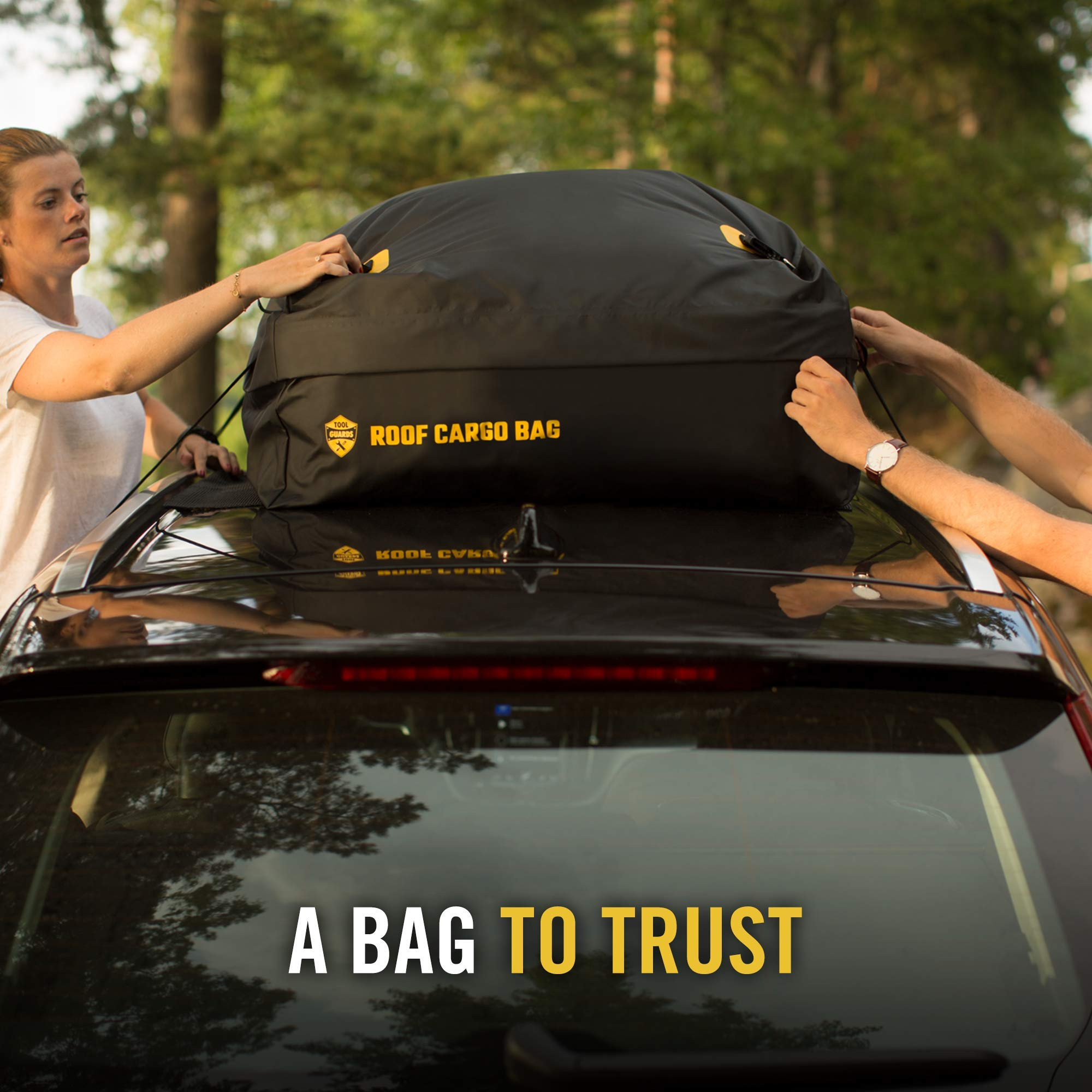 Car Top Carrier Roof Bag + Protective Mat - 100% Waterproof & Coated Zippers 15 Cubic ft - for Cars with or Without Racks by ToolGuards (Image #6)