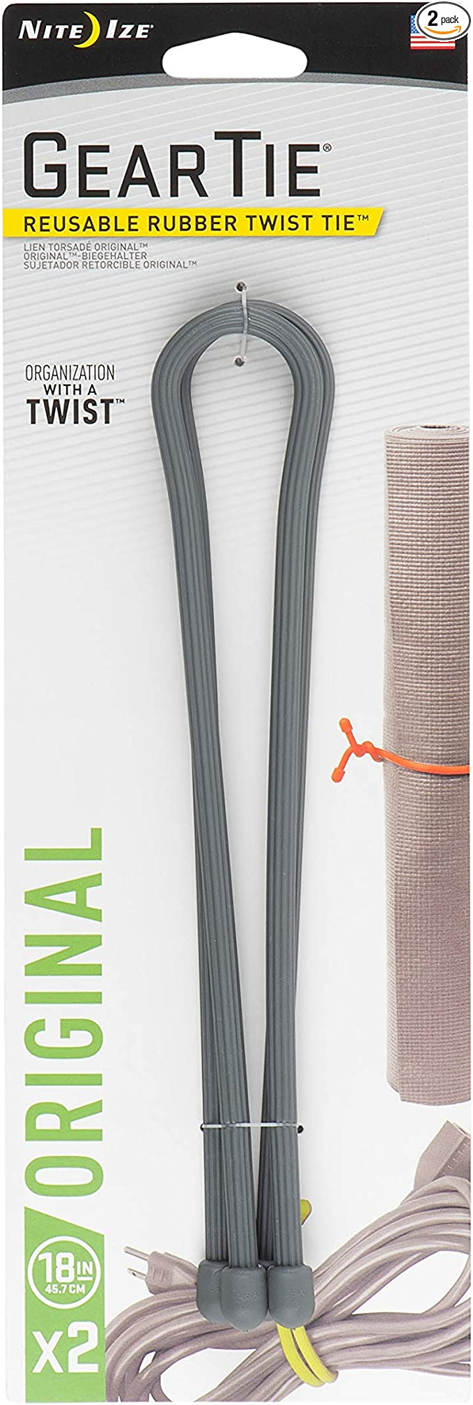 """Nite Ize Gear Tie Reusable Rubber Twist Tie 18/"""" 2-Pack Charcoal Gray 3-Pack"""