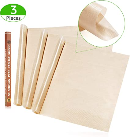 3 Pack Teflon Sheet for Heat Press Transfer Sheet Non Stick PTFE About 16 x 20 Heat Resistant Craft Mat,Protects Iron and Work Area