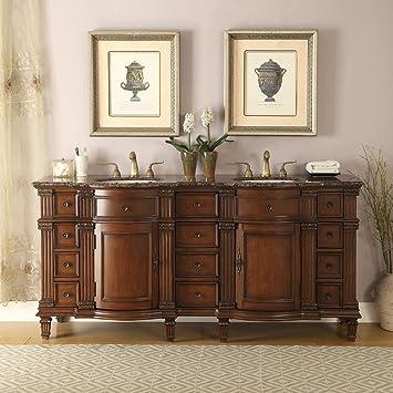 double sink vanity with granite top. 72 Quot  Baltic Brown Granite Top Bathroom Double Sink Vanity Cabinet Amazon Com