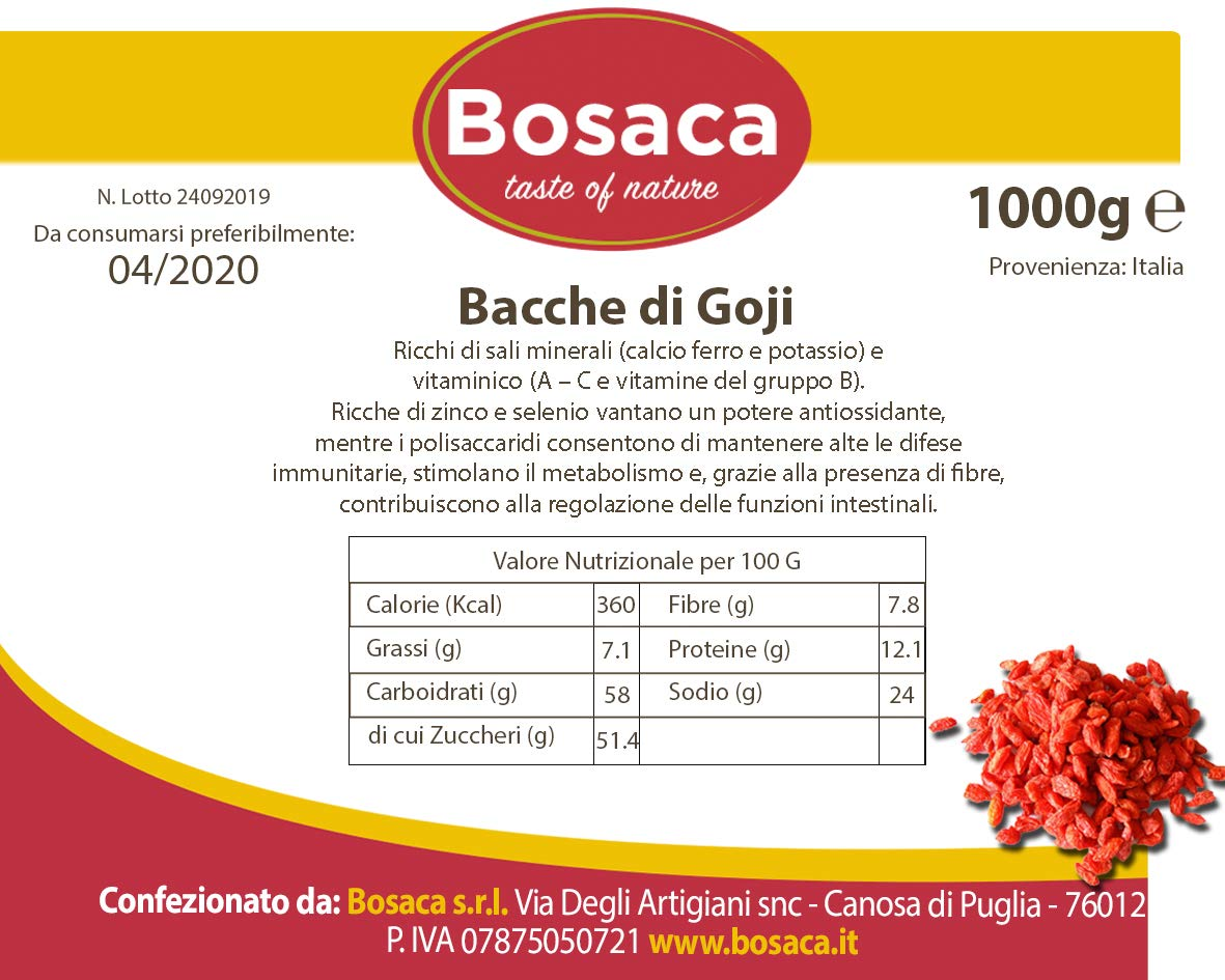 Bacche di Goji da 1Kg (Bayas de goji): Amazon.es ...