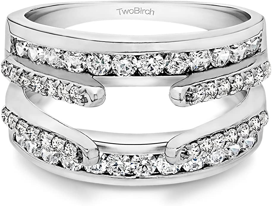 Cathedral Style Ring Guard with Millgrained Edges and Filigree Design Set in Sterling Silver and Black  Cubic Zirconia .29ct