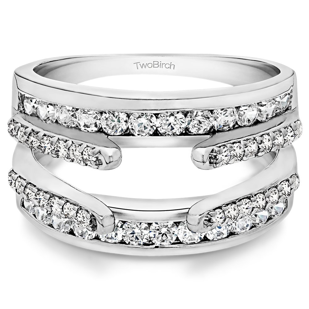 TwoBirch 0.5 Ct. Combination Cathedral and Classic Ring Guard in Sterling Silver with Diamonds (G,I2) (Size 7.25) by TwoBirch