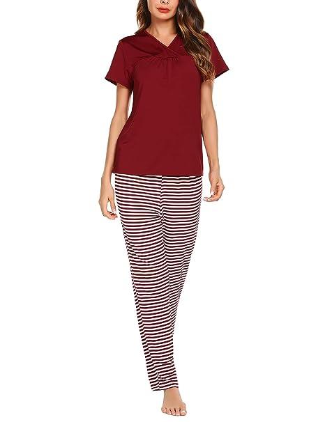 ZHENWEI Pijama Mujer Verano Ropa De Dormir 2 Piezas Respirable Pantalones De Rayas Y Mangas Cortas