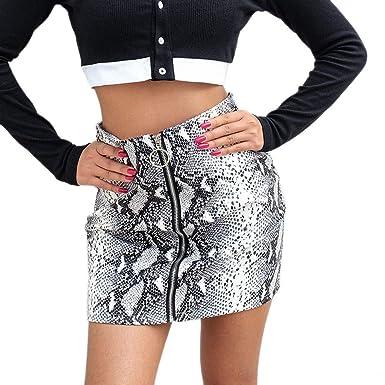 ... Sexy Delgada Moda Mini Falda con Estampado Serpiente Cintura Alta A-Line con Cremallera Fiesta Elástica Verano Gusspower: Amazon.es: Ropa y accesorios