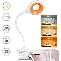 Clip op leeslamp, AMBOTHER 26 LED Eye Protect Boek Licht, 3 kleuren Dimbare Bureaulamp, USB Oplaadbare Klemlamp met…
