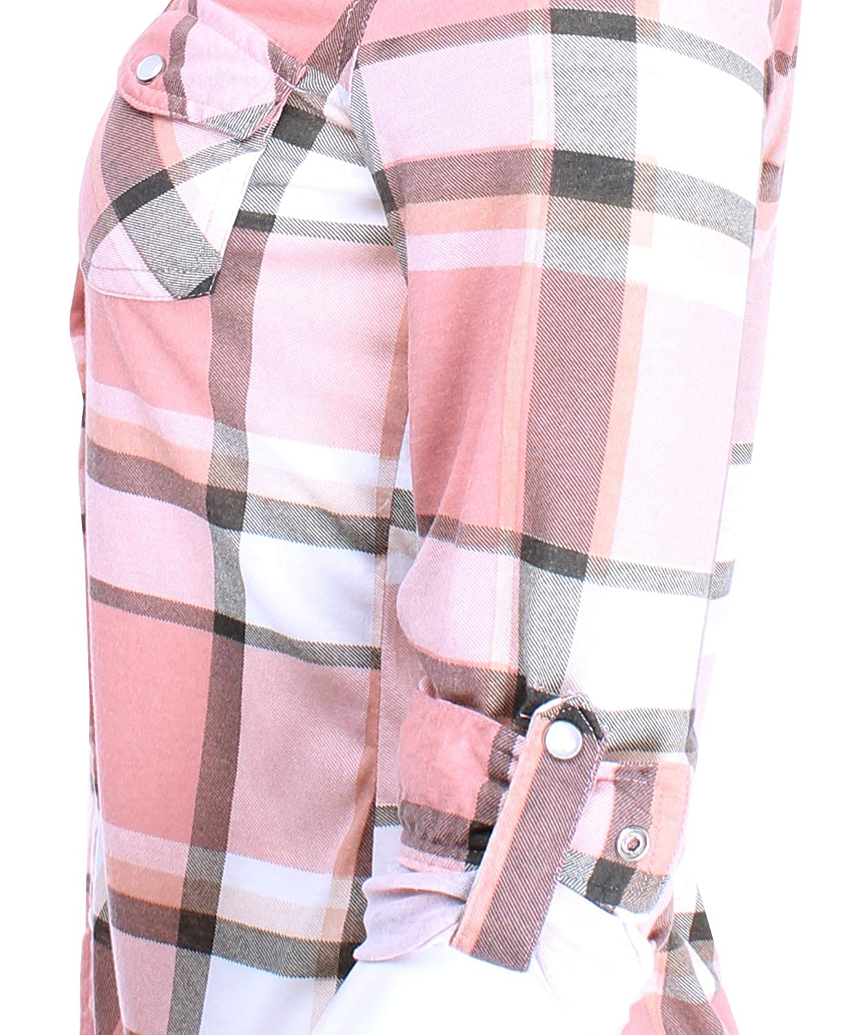 Ladies Code Womens Knit Snap Button Plaid Shirt Roll Up Sleeves