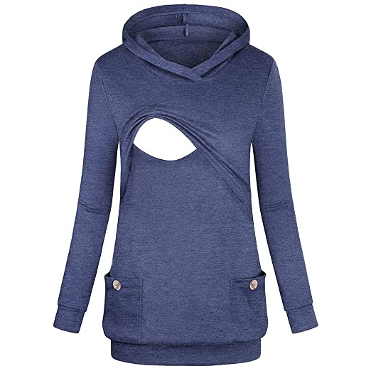 5a63a2b7c3cae Fall Maternity Clothes Women's Nursing Hoodie Long Sleeves Solid Tops  Breastfeeding Hoodie Sweatshirt