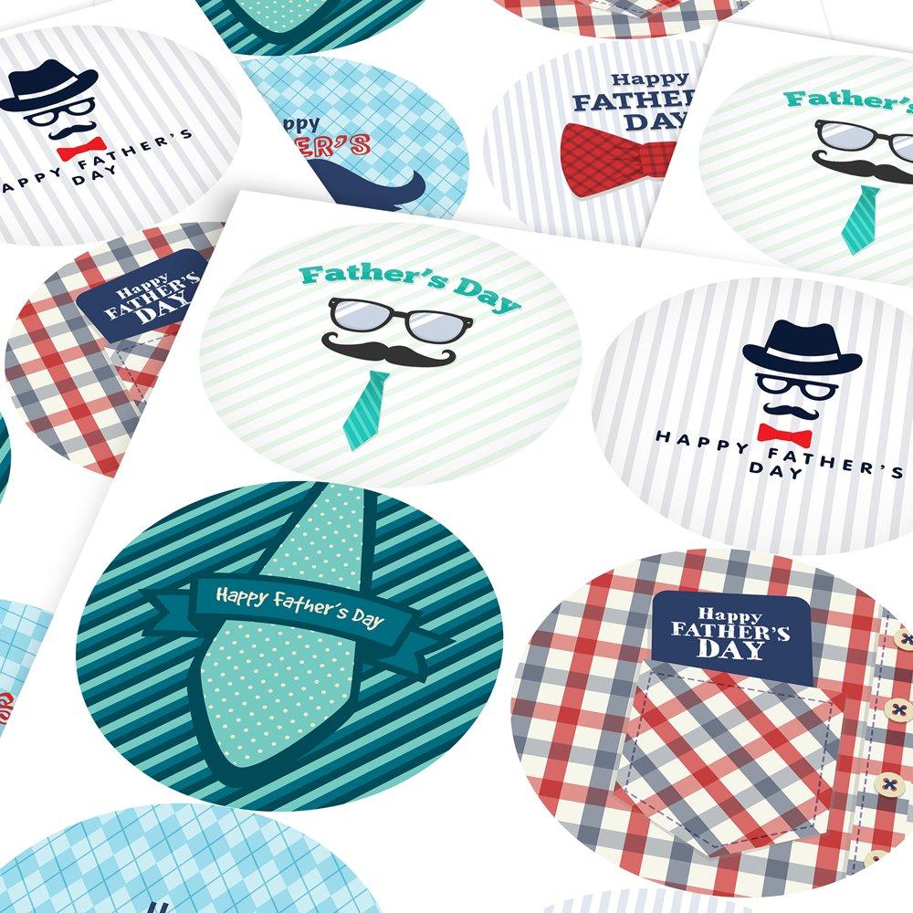 6 Stickers @ 9.5cm Parents Graphic Flavour Striped Happy Fathers Day Reward Sticker Labels Teachers Children