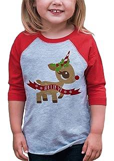 7 ate 9 Apparel Kids Oh Deer Christmas Red Raglan Tee