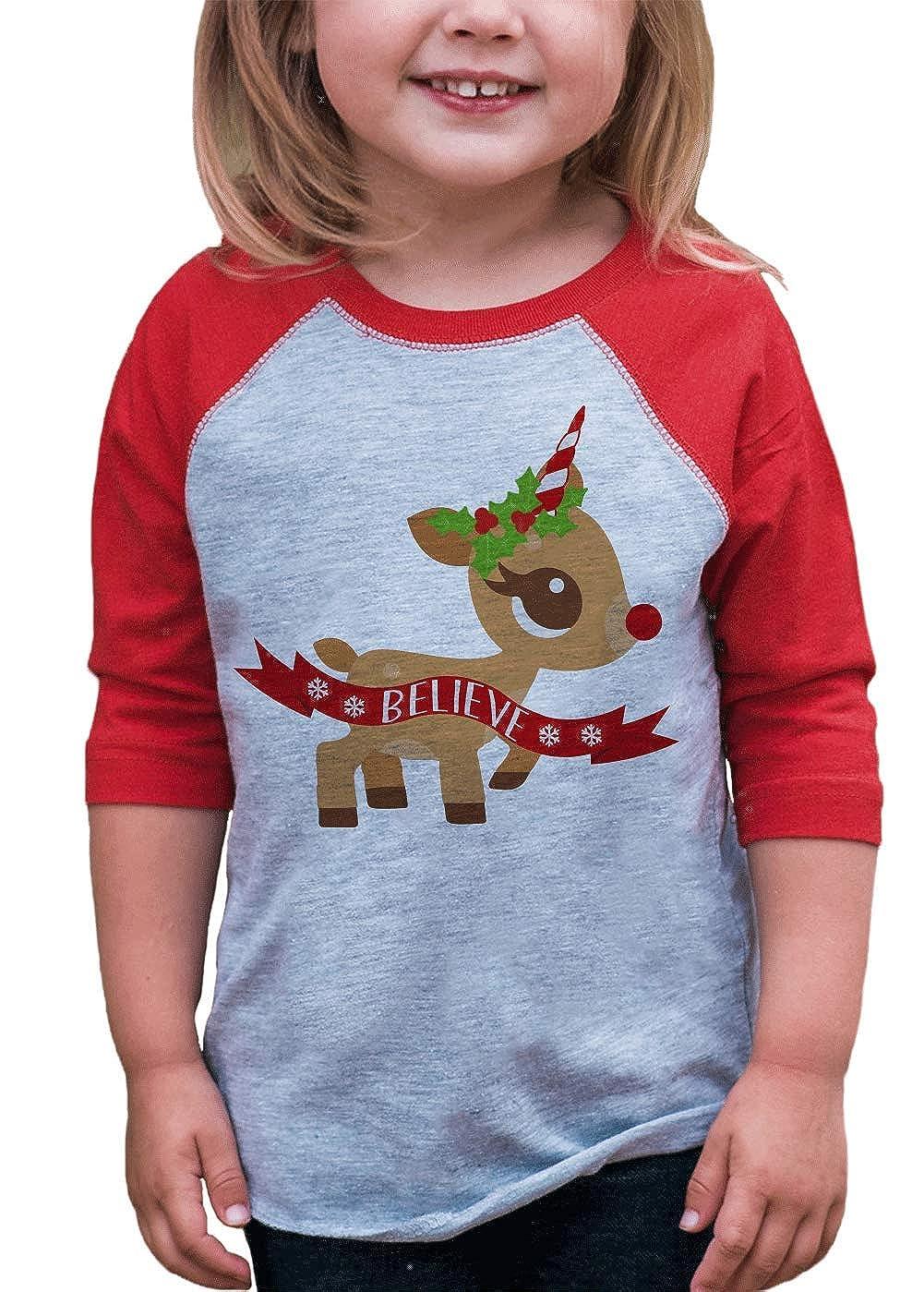 7 ate 9 Apparel Girl's Christmas Unicorn Red Baseball Tee