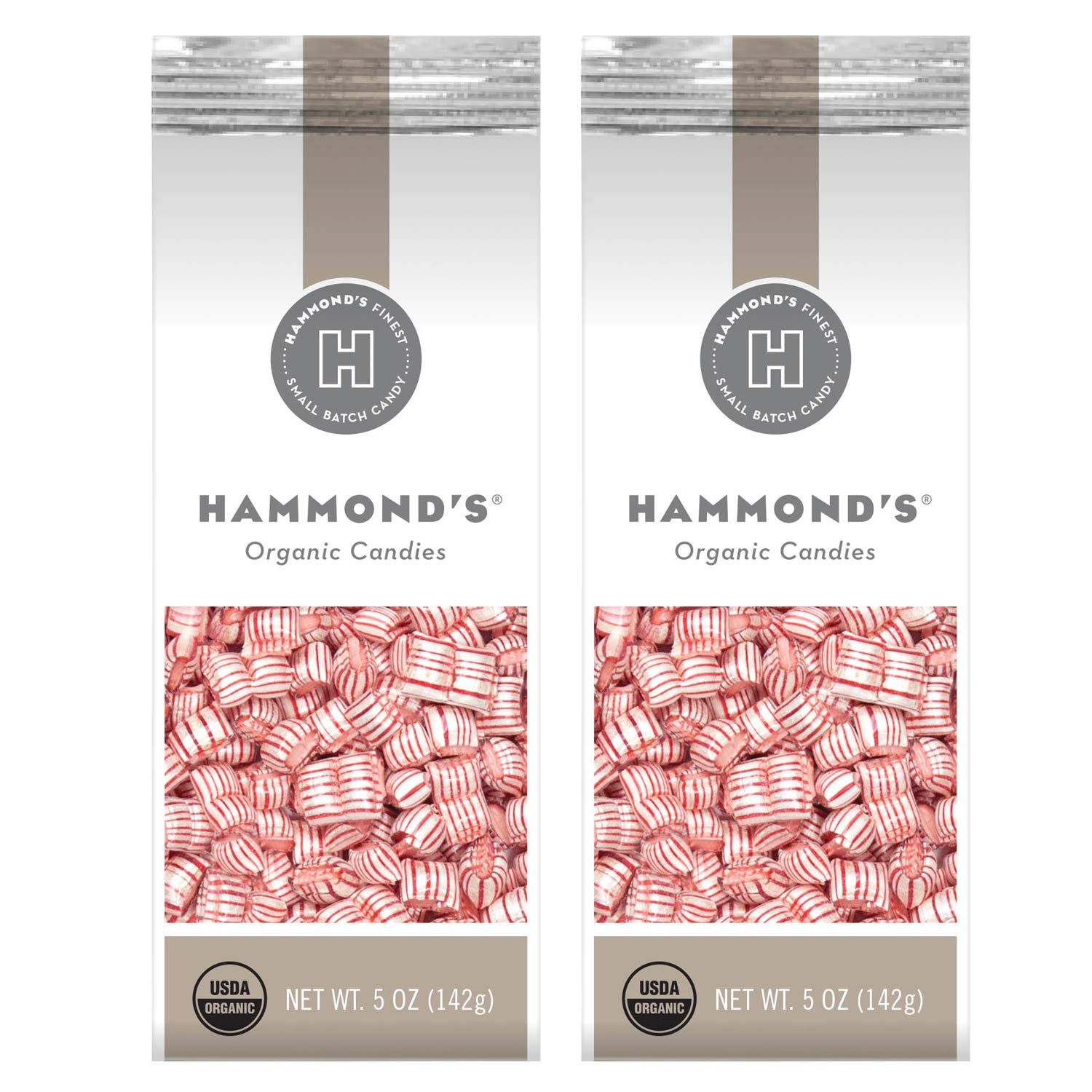 Hammond's Organic Mint Pillows 2- 5 Ounce Bags. Hammond's Peppermint Hard Candy is Great for Holiday Candy Trays, Stocking Stuffers, Present Toppers and Holiday Office Party Gifts. Handmade in USA.
