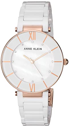 ebaf014fb Anne Klein Women's AK/3266WTRG Swarovski Crystal Accented Rose Gold-Tone  and White Ceramic