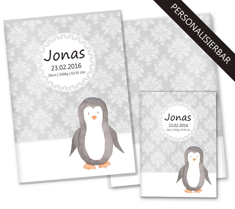U-Heft Hülle SET Black & White Pinguin Untersuchungsheft Hülle & Impfpasshülle wunderschöne Geschenkidee (U-Heft Set ohne Personalisierung, Pinguin) Olgs Babyartikel 2016082701S