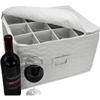 Sorbus Stemware Storage Chest - Deluxe Quilted Case with Dividers - Service for 12 - Great for Protecting or…