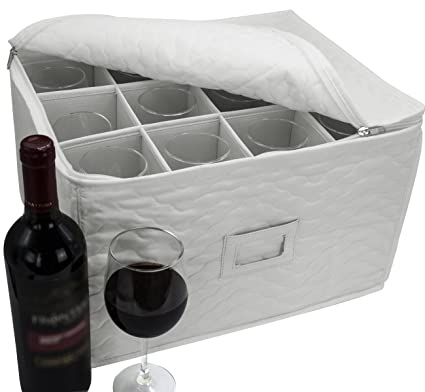 Sorbus Stemware Storage Chest   Deluxe Quilted Case With Dividers   Service  For 12   Great