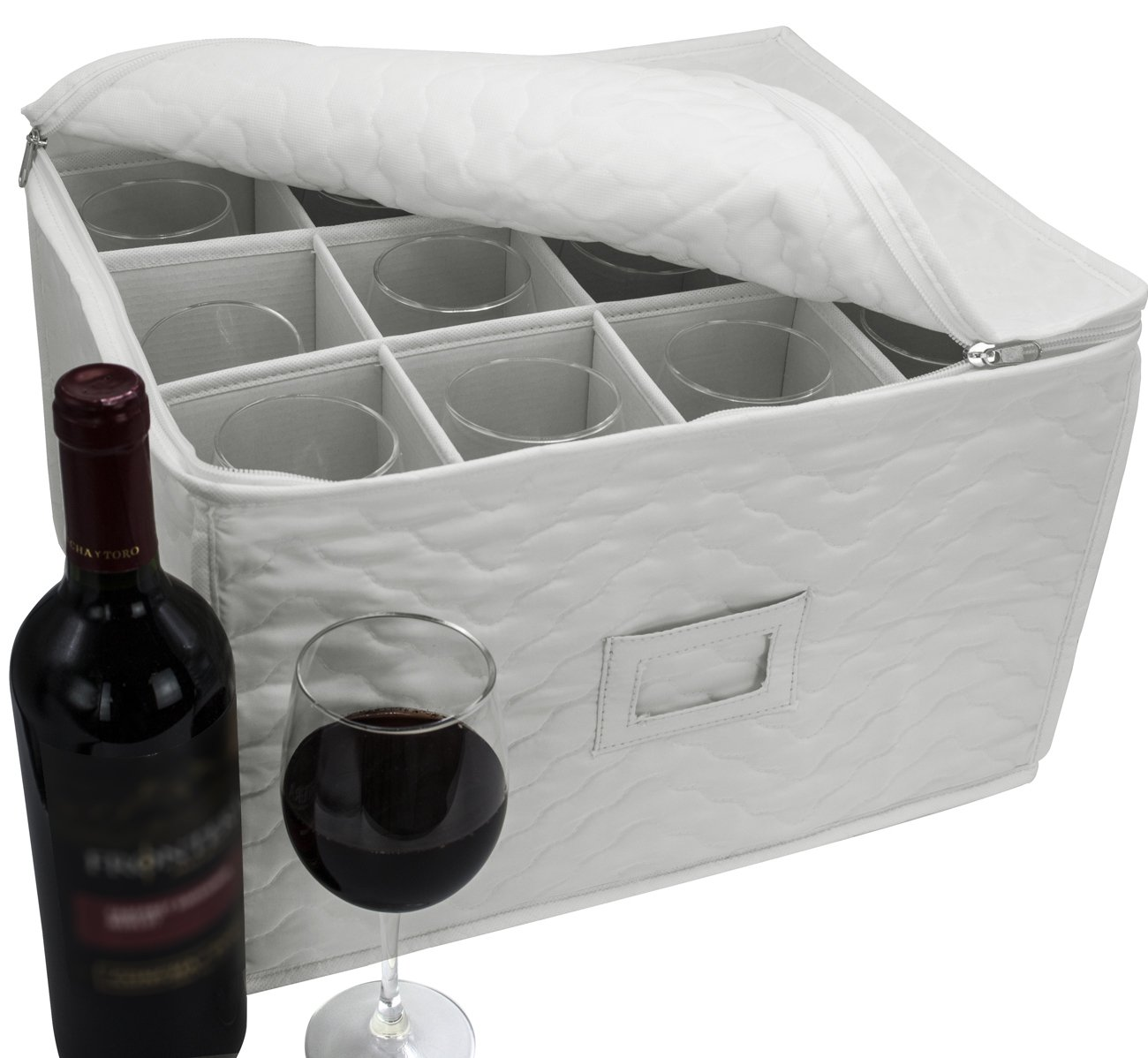 Sorbus Stemware Storage Chest - Deluxe Quilted Case with Dividers - Service for 12 - Great for Protecting or Transporting Wine Glasses, Champagne Flutes, Goblets, and More (Storage Glass - Beige) by Sorbus (Image #1)