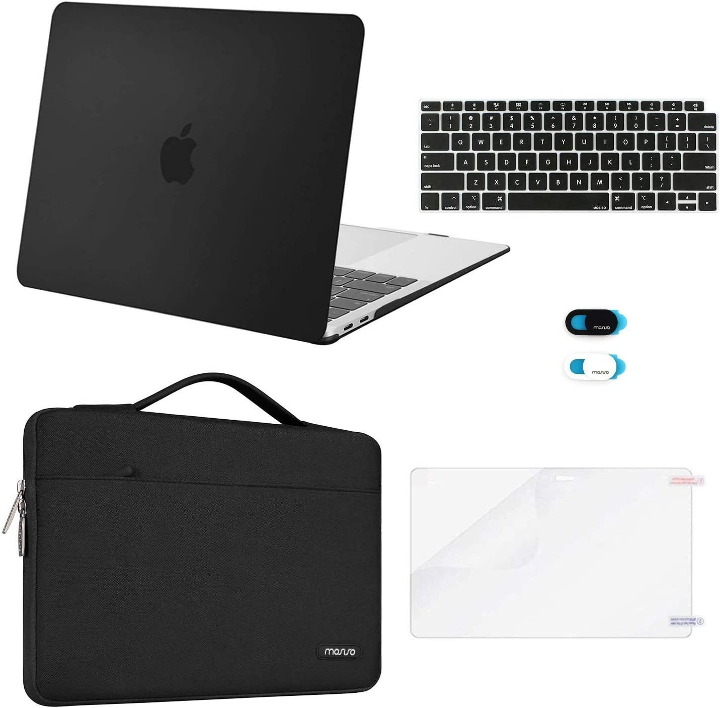 MOSISO MacBook Air 13 inch Case 2020 2019 2018 Release A2179 A1932, Plastic Hard Shell&Sleeve Bag&Keyboard Cover&Webcam Cover&Screen Protector Compatible with MacBook Air 13 inch Retina, Black