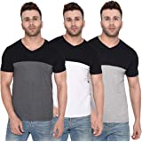 Rezalia Men's100% Cotton Vneck Half Sleeve Multi Color Tshirt(Combo Pack of 3)