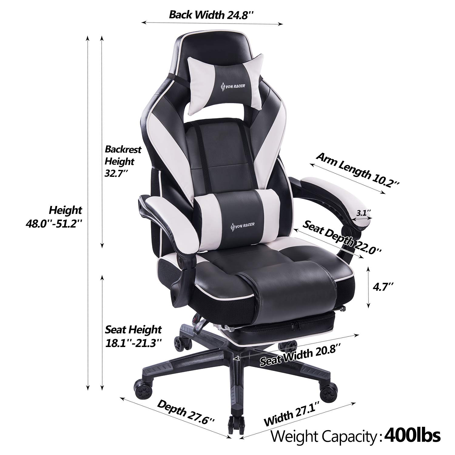 VON RACER Massage Reclining Gaming Chair - Ergonomic High-Back Racing Computer Desk Office Chair with Retractable Footrest and Adjustable Lumbar Cushion (Gray) by VON RACER (Image #6)