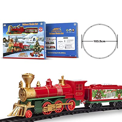 FENFA Deluxe Train Set with Lights and Sounds 40 Inches Diameter Round Shape Railway Tracks for Under The Christmas Tree Electronic Toys for Boys and Girls Battery Operated Toys Gift for Kids 1600A-7C: Toys & Games