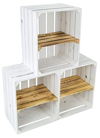 Nueva fruta Cajas blanca con geflammten Juego de 3 estantes Tabla Horizontal manzana caja Vino - Portacajas Caja zapatero Caja + + + 50 x 30 x 40 cm: ...