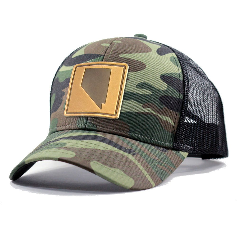 Homeland Tees Mens Nevada Leather Patch Army Camo Trucker Hat